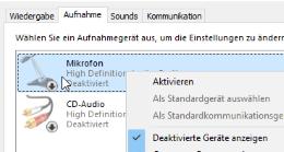 Mikrofon in Windows 10 aktivieren