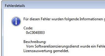 Fehlercode 0x80073712