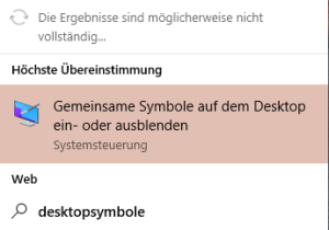 Desktopsymbole verschwunden in Windows 10