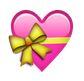 pinke herzen mit gelber schleife - whatsapp smileys bedeutung