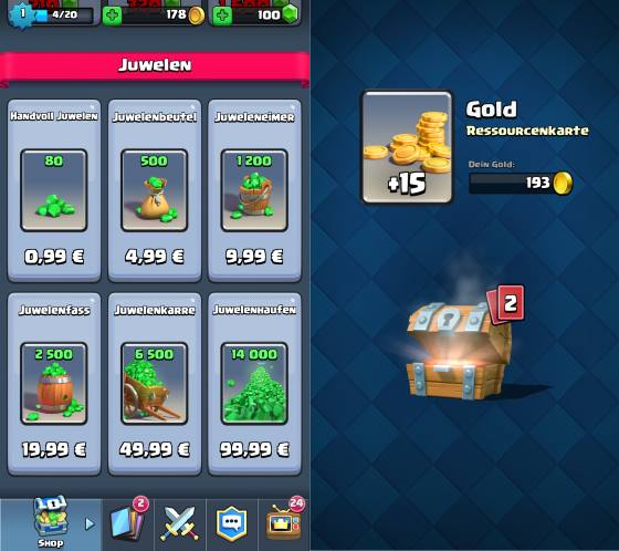 Jewels and chests in Clash Royale